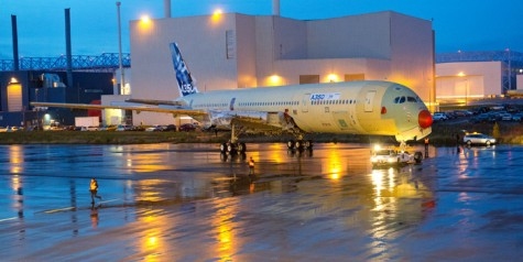A350 XWB MSN1 out of Main Assembly Hall (Photos)
