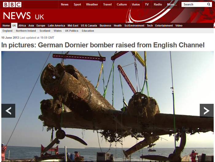 Dornier Do-17 Wreckage Raised from British Channel