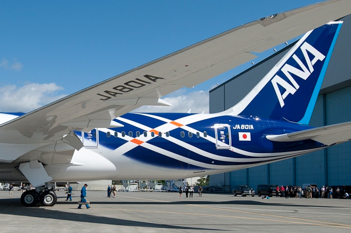 ANA First Boeing 787 Roll-Out for Delivery - Tail